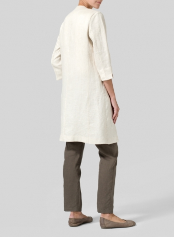 Beige Linen Straight Fit V-Neck Long Jacket