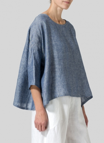 Two Tone Denim Linen Dropped Shoulder Top
