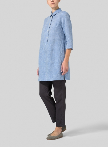 Two Tone Blue White Linen Straight Fit Shirt Collar Tunic