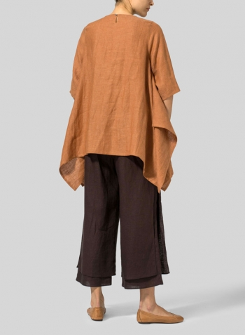 Rust Orange Linen Half Sleeves Handkerchief Hem Tunic