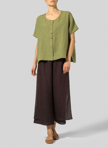Pale Olive Linen Wide S/Sleeve Blouse