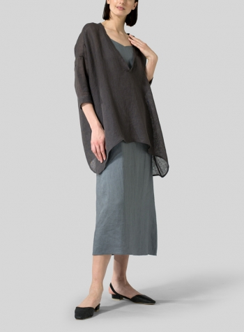 Green Gray Linen Spaghetti Strap Long Dress Set