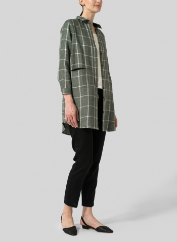 Green Plaid Linen Contrast Collar Shirt Jacket