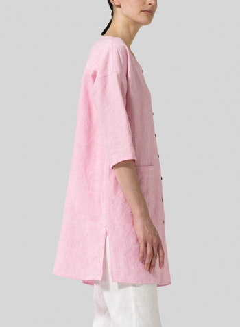 Pink Linen Round Neck Button Front Top