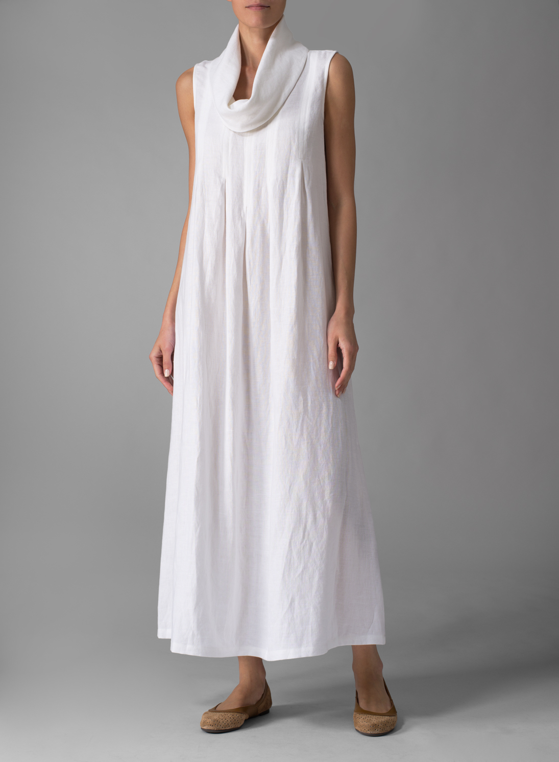 clothing linen sleeveless cowl neck dress