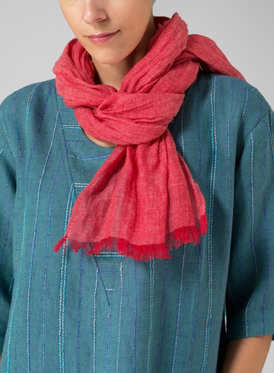 Linen Two Tone Red Short Scarf