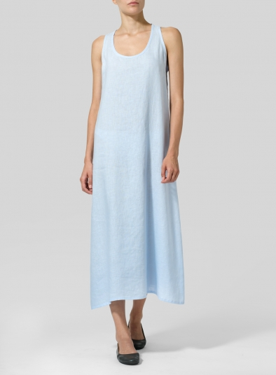 Linen Dipped-Hem Maxi Dress