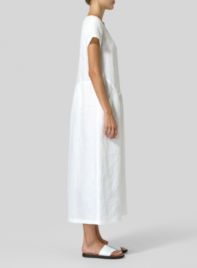 Linen Short Sleeve Midi Dress