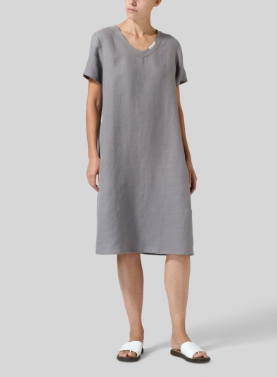 efcee342d26ca Heavy Linen Short-Sleeve Heart-Neck Dress
