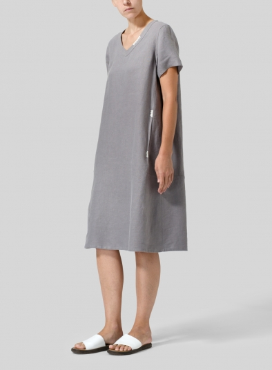 Heavy Linen Short-Sleeve Heart-Neck Dress
