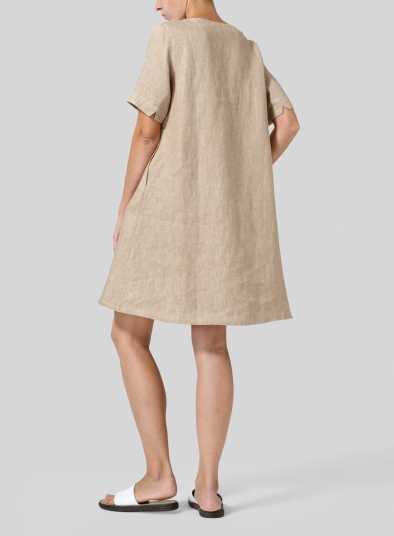 Linen Boat Neck Short Sleeve Dress