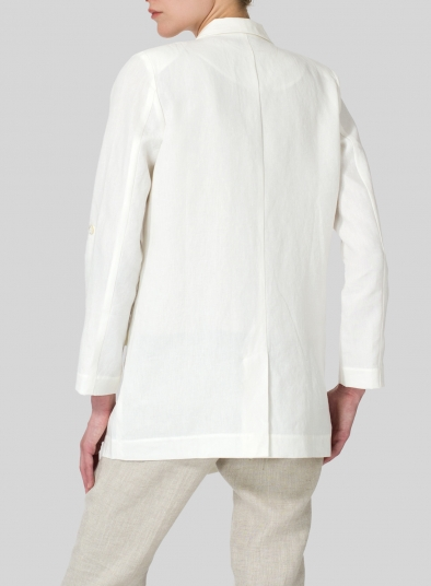 Linen Double-Breasted Roll Sleeve Jacket