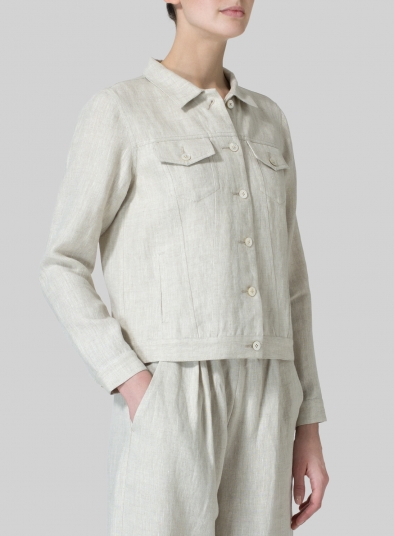 Linen Button Front Cropped Jacket