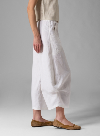 Linen Flared Leg Crop Pants
