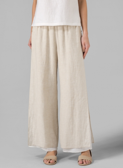 Linen Double Layer Pants With Sea Shell Button