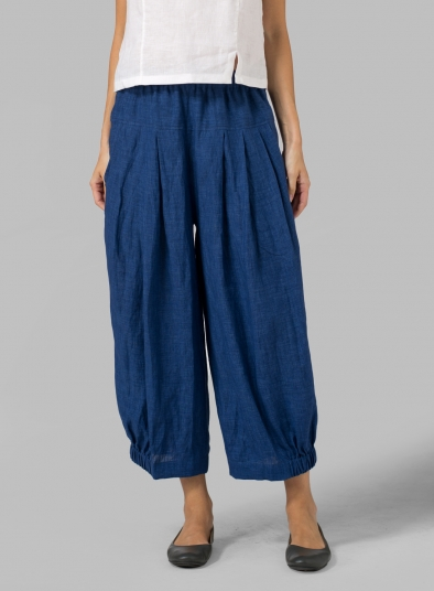 Linen Crumple Effect Harem Pants (Long)
