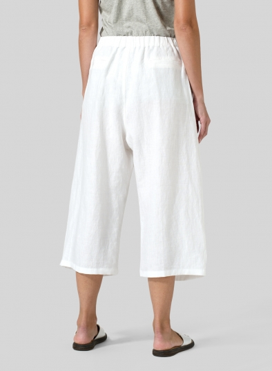 Linen Wide Leg Crop Pants