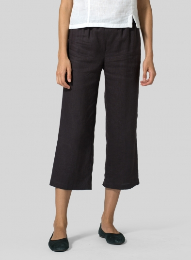 Linen Straight Leg Cropped Pants