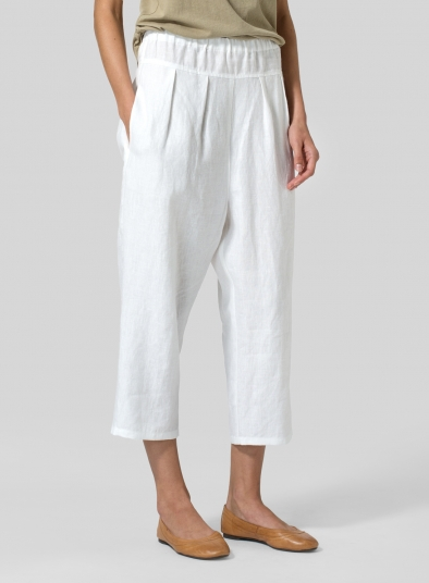Linen High Waisted Full Elastic Pants