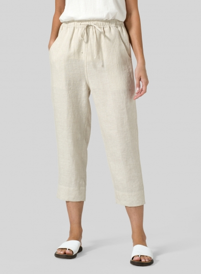 Linen Smooth-Waist Slim Cropped Pants