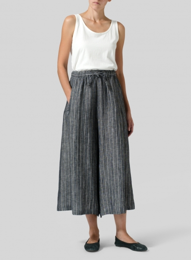 Linen Cropped Wide Leg Lounge Pants