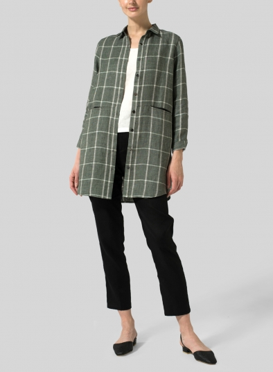 Linen Contrast Collar Shirt Jacket