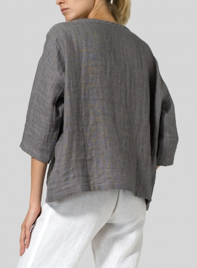 Double Layer Linen Scoop Neck Top