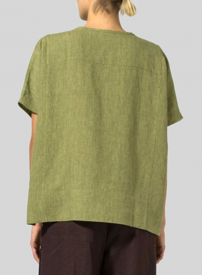 Linen Wide S/Sleeve Blouse