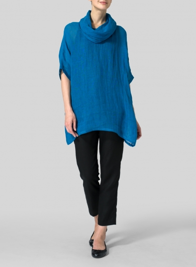 Sheer Linen Turtleneck Tunic