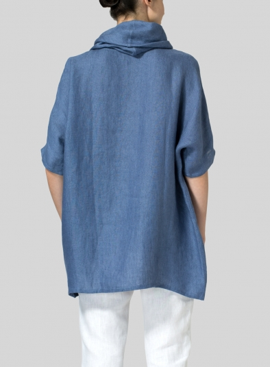 Weave Linen Turtleneck Tunic
