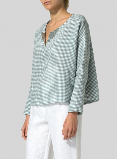 Linen V-neck Checker Boxy Top