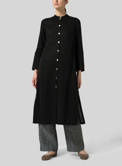 Linen Long Slim Shirt Dress