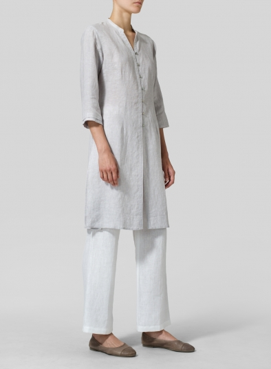 Linen V-neck Stand Collar Long Blouse
