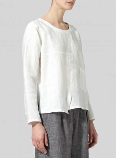 Linen Patchwork Long Sleeves Top