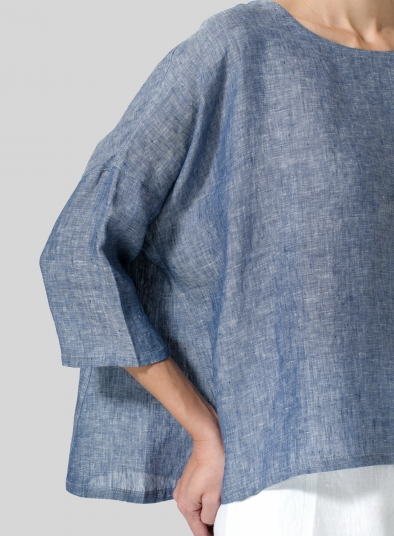 Linen Dropped Shoulder Top