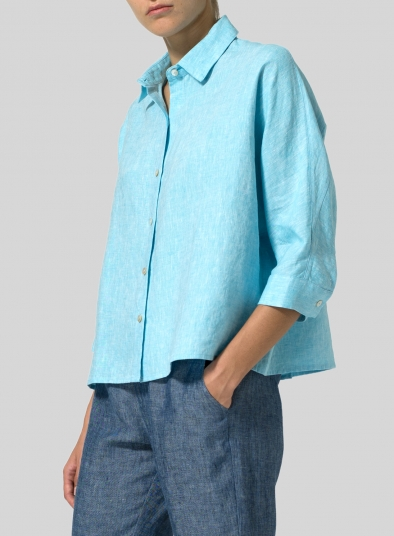 Linen Collar Boxy Top