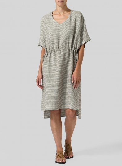 Linen Stripes V-neck Dress