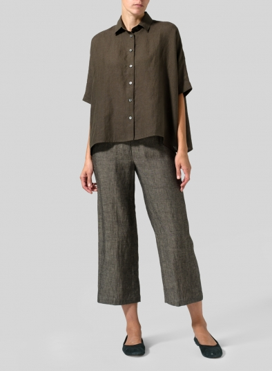 Linen Boxy Sleeves Shirt