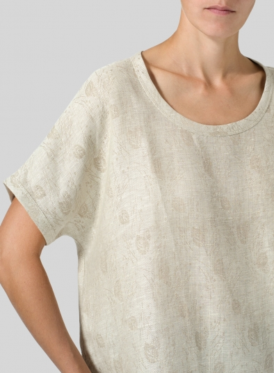 Linen Collarless Round Neck Top