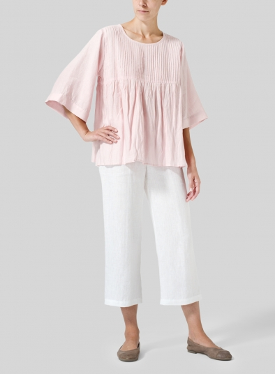 Linen Hand-Made Pleated Bell Sleeve Blouse