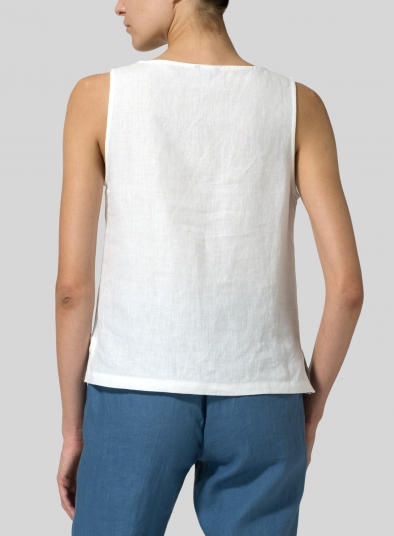 Linen Sleeveless Pullover Top