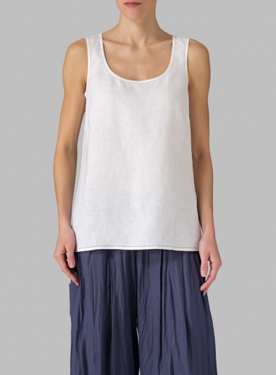 Linen Embroidered Sleeveless Cami