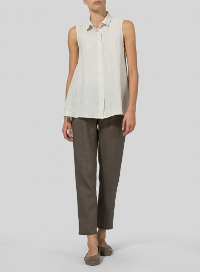 Light Weight Linen Sleeveless A-shape Top