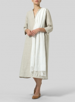 Linen Hand-crafted White Long Scarf