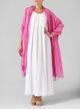Linen Hand-crafted Pink Stripe Long Scarf