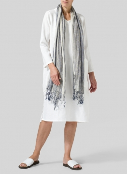 Linen Oversized Striped Scarf