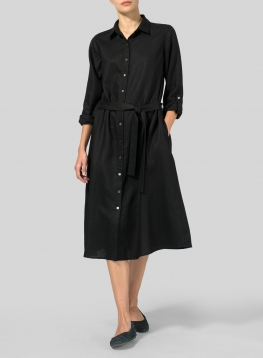 Linen Long-Sleeve Waist-Tie Dress