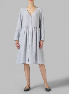 Linen Button Front L/S Dress