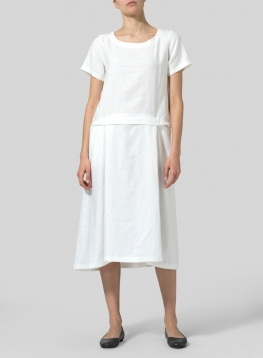 Linen Slip On A-line Dress