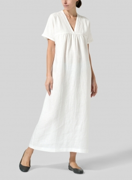 Linen Deep V-Neck Long Dress